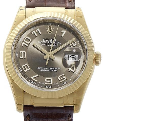 Rolex. An 18ct gold automatic calendar wristwatch with Roulette date Oyster Perpetual Datejust, Ref:116138, Circa 2005