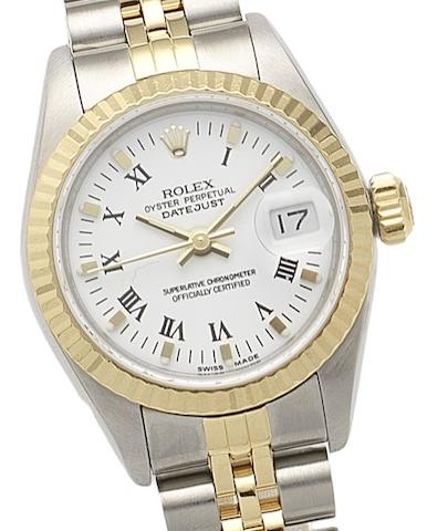 Rolex. A lady's stainless steel and gold automatic calendar bracelet watch Oyster Perpetual Datejust, Ref:69173, Circa 1987