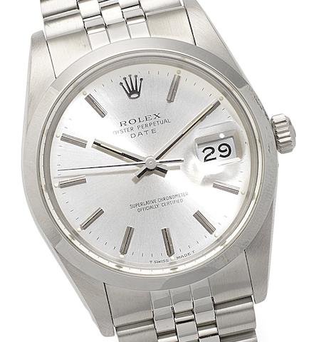 Rolex. A stainless steel automatic calendar bracelet watchOyster Perpetual Date, Ref:15000, Circa 1987