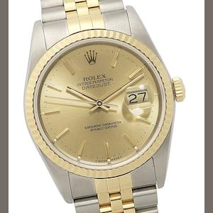 Rolex. A stainless steel and gold automatic calendar bracelet watch Datejust, Ref:16233, Circa 1987