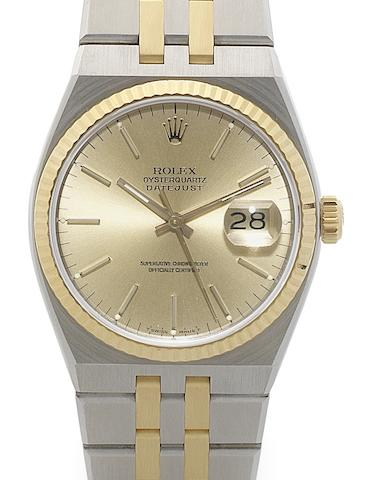 Rolex. A stainless steel and gold quartz calendar bracelet watchOysterquartz Datejust, Ref:17013, Circa 1989