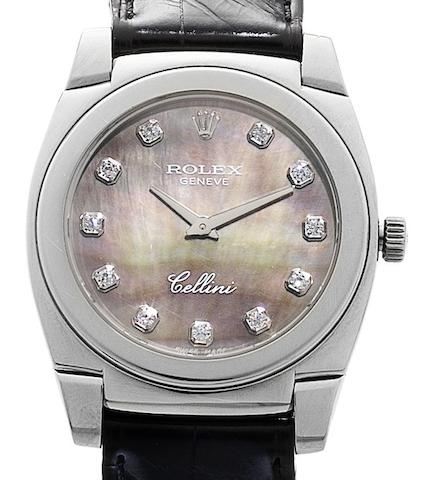 Rolex. An 18ct white gold manual wind midsize wristwatch with mother of pearl dialCellini 'Cestello', Ref:5320/9, Circa 2001