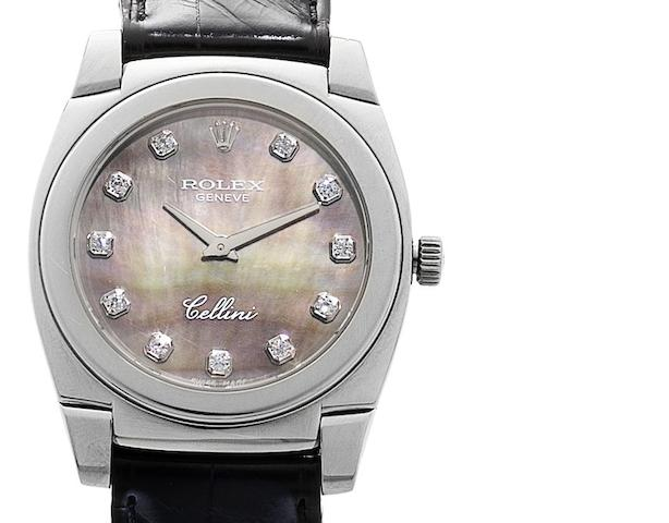 Rolex. An 18ct white gold manual wind midsize wristwatch with mother of pearl dial Cellini 'Cestello', Ref:5320/9, Circa 2001