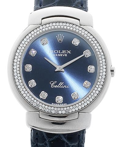 Rolex. An 18ct white gold and diamond set quartz midsize wristwatchCellini, Ref:6681/9, Circa 1998