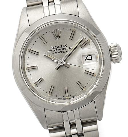 Rolex. A lady's stainless steel automatic calendar bracelet watch Oyster Perpetual Date, Ref:6916/0, Circa 1972