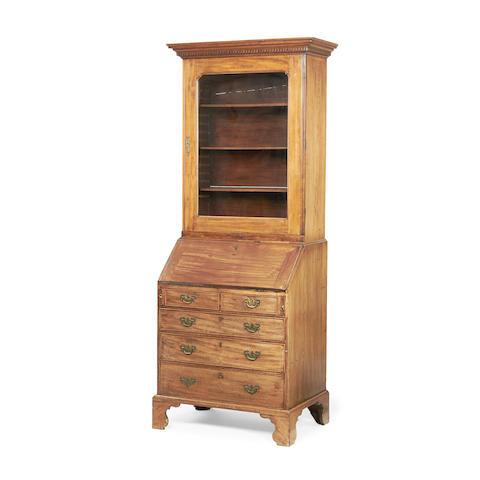 A George II mahogany bureau bookcase