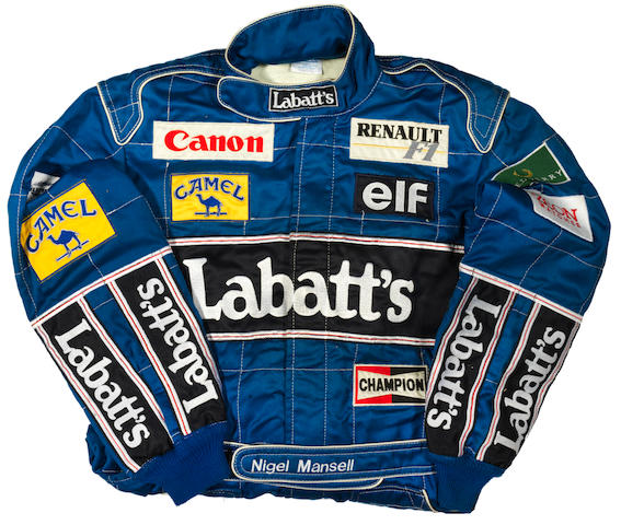 A pair of Nigel Mansell 1992 overalls by Sparco,