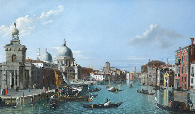 English Follower of Antonio Canal, called il Canaletto (Venice 1697-1768) A view of the entrance to the Grand Canal, Venice, looking west, with the Dogana and Santa Maria della Salute to the left and the Palazzo Tiepolo to the right