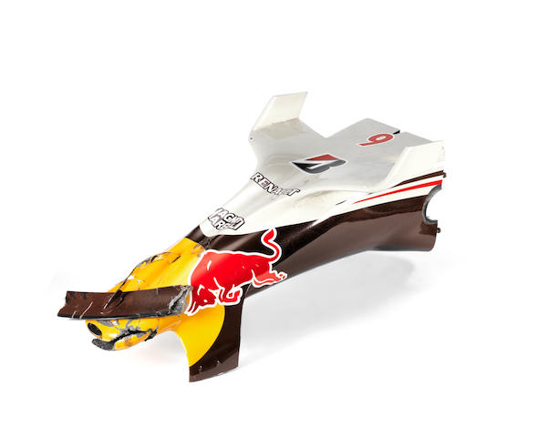 A nose-cone from the Red Bull Racing  RB4 'Wings for Life' car, David Coulthard's last F1 race, Brazilian Grand Prix 2008,