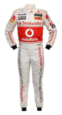 Hamilton signed race suit + COA + bag