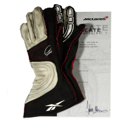 Hamilton signed gloves + COA