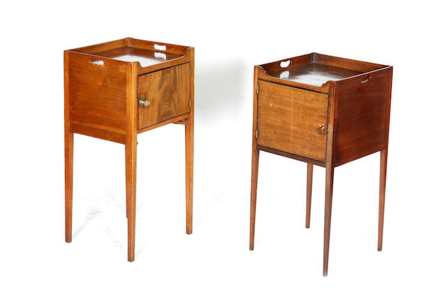 Two similar 19th century mahogany and ebony lined bedside cabinets