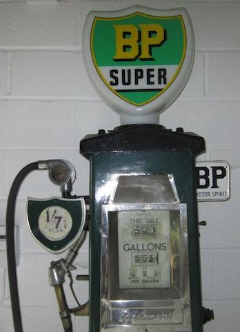 A Beckmeter calculator petrol pump, restored in BP livery,