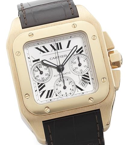 Cartier. An 18ct rose gold automatic chronograph calendar wristwatch together with fitted boxSantos 100, Recent