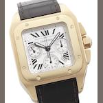 Cartier. An 18ct rose gold automatic chronograph calendar wristwatch together with fitted box Santos 100, Recent