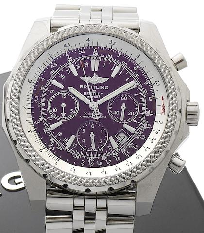 Breitling. A stainless steel automatic chronograph wristwatch together with Breitling fitted boxFor Bentley, Reference A25362, Case Number 2176497, Recent