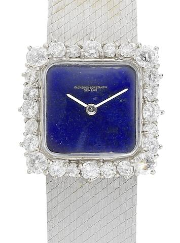 Vacheron Constantin. A lady's 18ct white gold and diamond set manual wind bracelet watch with lapiz dial Case No.454565, Movement No.646532, Circa 1960