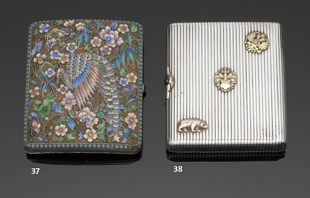 A Russian  silver  cigarette case probably by Mikhail Ivanov, St Petersburg 1896-1908