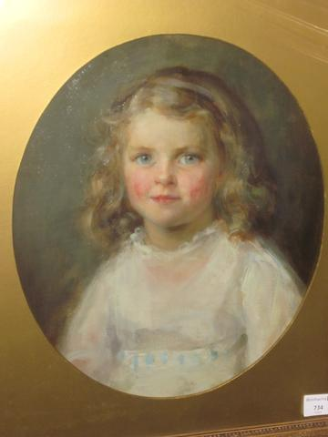 British School, (circa 1900) Portrait of a young girl wearing a white dress