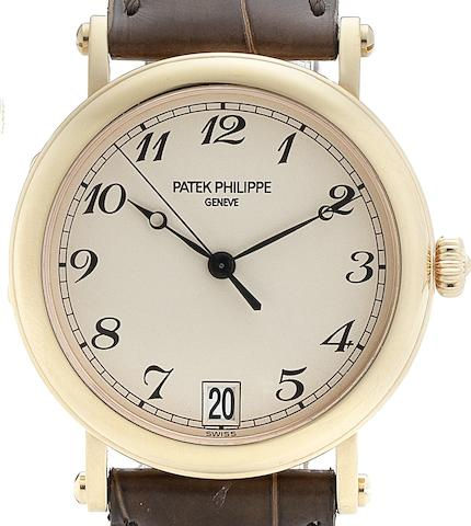 Patek Philippe. A fine 18ct rose gold automatic calendar centre seconds wristwatchRef:5053, Case No.4164046, Movement No.3326360, Circa 2004