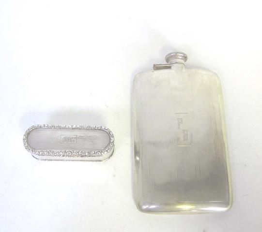A 20th century American silver hip flask by R Blackinton & Co, North Attleboro, Massachusetts; together with a George IV snuff box (2)