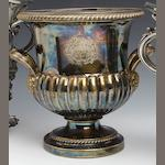 A George IV gilded Old Sheffield plate wine cooler by Matthew Boulton, circa 1820 double sunburst mark,
