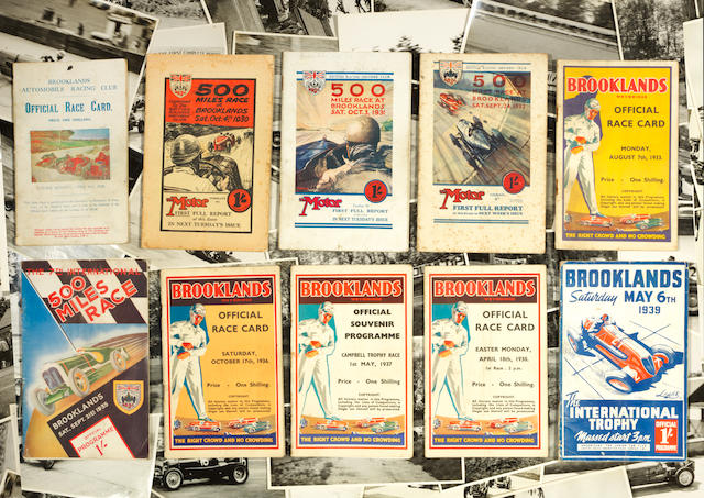 Ten pre-War Brooklands Official Race programmes,