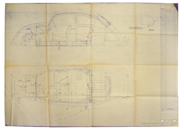 Two rare and historically important folios of Volkswagen 'Beetle' blueprints from the Volkswagenwerk, Germany, 1940-1945,