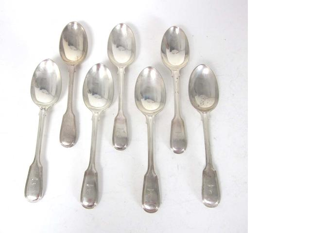 An Edwardian silver Fiddle and Thread pattern table service of flatware by Francis Higgins, London 1902
