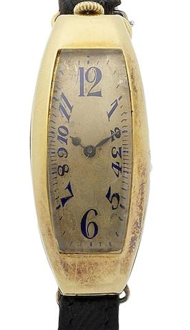 Movado. A rare 18ct gold manual wind wristwatch Polyplan, London import mark for 1916