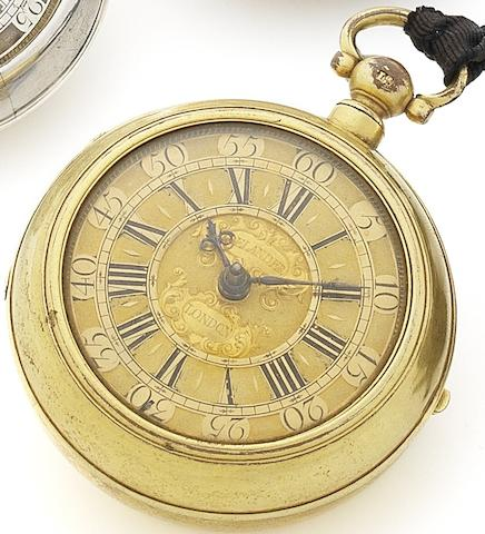 Daniel Delander. An early 18th century gilt metal pair case watch Movement No.296, Movement Circa 1720