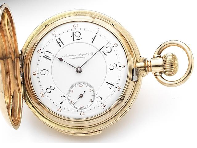 Audemars Piguet & Co, Brassus & Geneva. A fine and rare 18ct gold keyless wind minute repeating pocket watch Case and Movement numbered 4017, Circa 1880