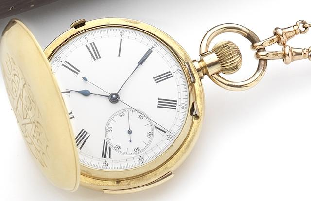 Swiss. An 18ct gold key wind full hunter minute repeating chronograph pocket watch together with 9ct gold T-bar, chain and sovereignCirca 1900