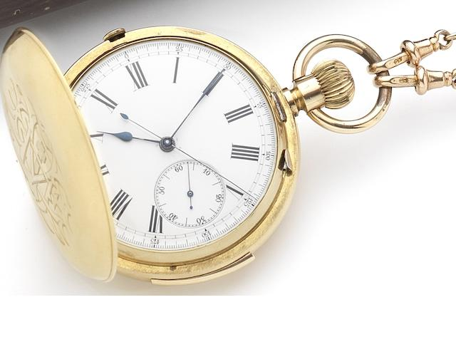 Swiss. An 18ct gold key wound full hunter minute repeating chronograph pocket watch together with 9ct gold T-bar, chain and sovereign Circa 1900