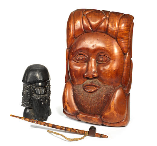 Ginger Baker: A collection of four tribal, handcarved wooden figures, a handcarved wooden mask and a smoking pipe,