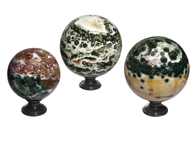 Three Orbicular Jasper Spheres