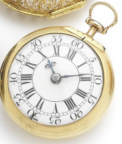 Conyers Dunlop. A very fine and rare triple case late 17th century pocket watch with gold filigree inner case, leather and pin work outer with later movement and enamel dialNumbered 2788, Cases Circa 1690, Movement and dial Circa 1730