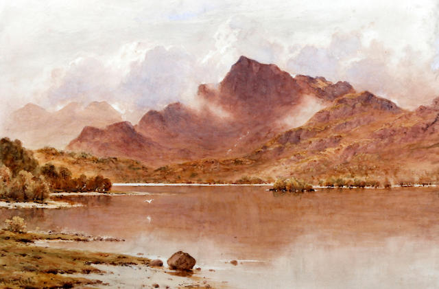 Herbert Moxon Cook (British, 1844-1920) 'Loch Earn from St. Fillans, Perthshire'