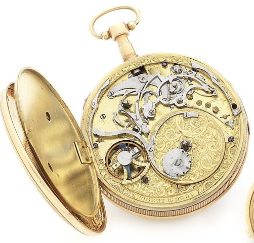 Robert et Droz. A fine late 18th century 18ct gold open face musical quarter repeating pocket watchCirca 1770