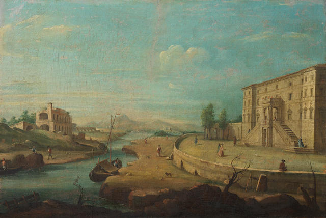 Giacomo van Lint (Rome 1723-1790) A capriccio of a landscape in the Roman Campagna with numerous figures beside a river running between Roman ruins to the left and a Renaissance villa to the right