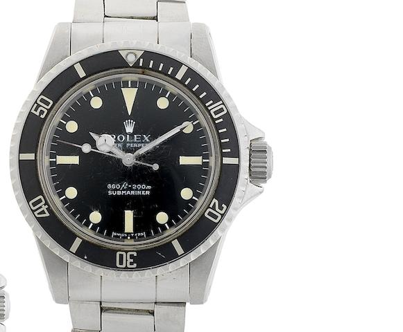 Rolex. A fine and rare stainless steel automatic diving watch, together with diving log book signed by the comedian Tommy Cooper Submariner, Comex, Ref:5512, Serial No.4089***, Made in 1972
