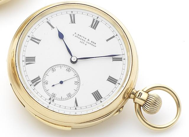 S. Smith & Son. A fine 18ct gold open face keyless wind minute repeating free sprung pocket watch together with original letter signed by the manufacturer, S.Smith Numbered 157-4, London Hallmark for 1895, Sold 6th 1895