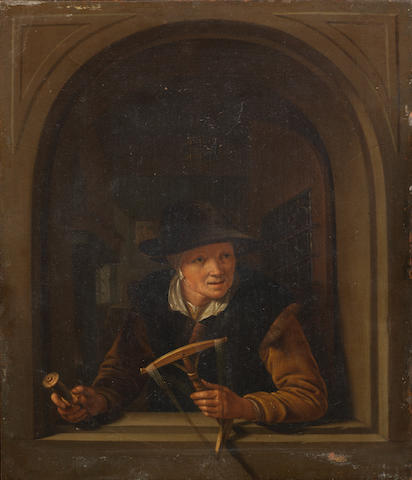 Dutch School, 18th Century A woman at a casement window holding a spindle