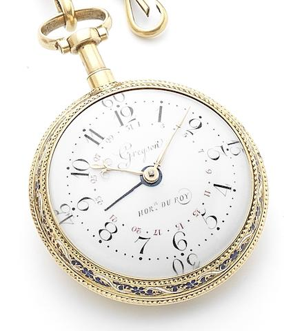 Gregson. A fine and rare late 18th century gold and enamel calendar dumb repeating pocket watch Numbered 838, Circa 1780
