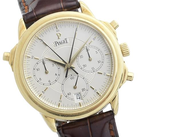 Piaget. A fine and rare 18ct gold automatic split seconds chronograph calendar wristwatch with fitted Piaget box Recent
