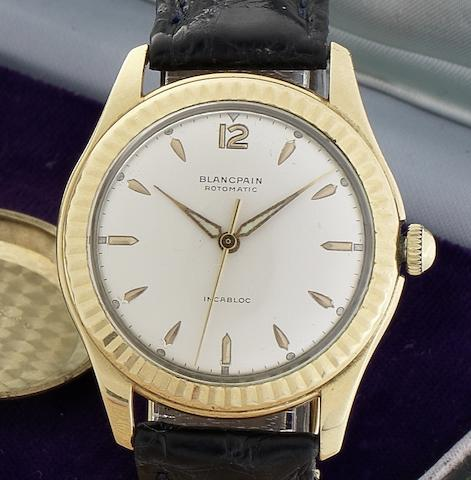 Blancpain, Horologers a Villeret. A rare 18ct gold automatic wristwatch together with original boxCirca 1965