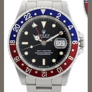 Rolex. A stainless steel automatic calendar bracelet watch GMT Master, Ref:16700, Serial No.N236***, Circa 1991