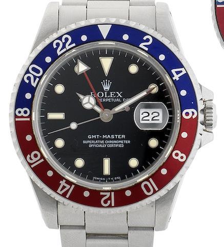 Rolex. A stainless steel automatic calendar bracelet watchGMT Master, Ref:16700, Serial No.N236***, Circa 1991