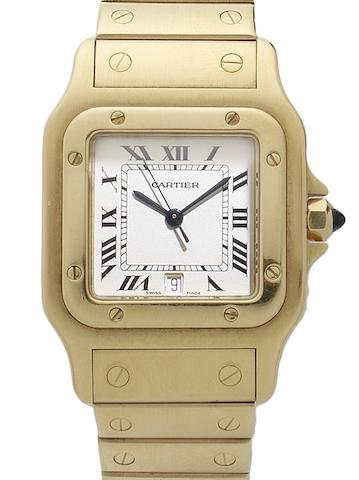 Cartier. An 18ct gold quartz calendar bracelet watch together with fitted Cartier box Santos, Circa 1990