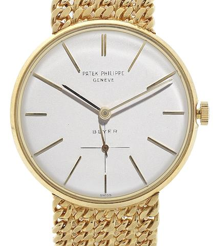 Patek Philippe. An 18ct gold manual wind bracelet watch Retailed by Beyer, Ref:2573/2, Movement No.1144564, Sold 27th May 1970